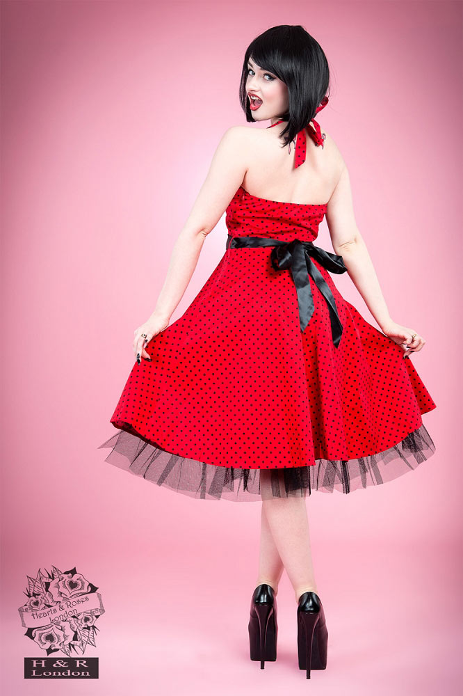 f8a40d1910ef H R London Red and Black Small Polka Dot Swing Dress