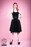 H&R London Black on Black Polka Dot Swing Dress