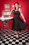 H&R London Black with Red Piping Retro Swing Dress