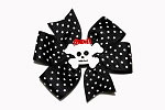 Black and White Dot Skull Hair Bow