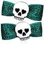 Skully Teal Leo Bow Barrette