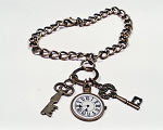 Time is the Key Bronze Charm Bracelet