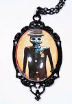 Top Hat Calavera Skeleton Cameo Necklace