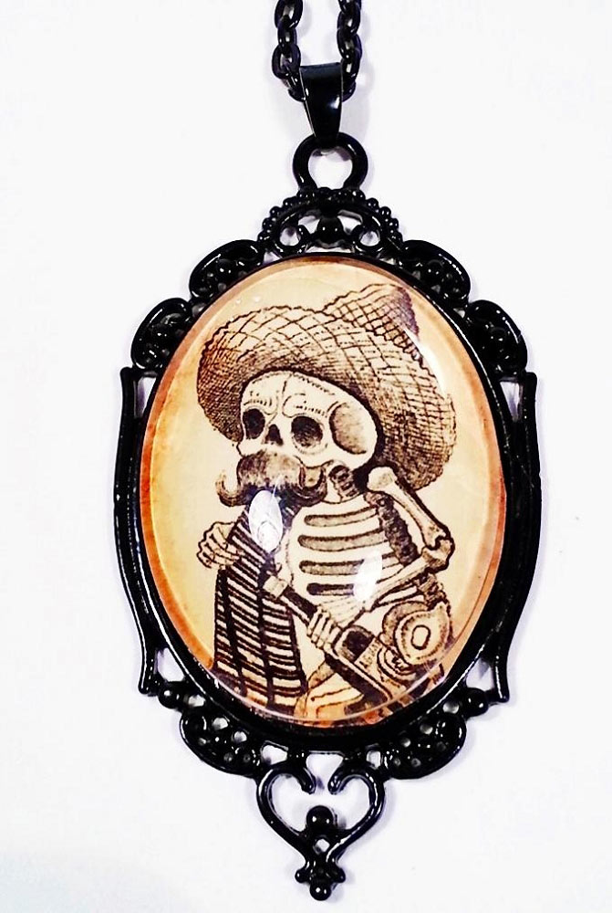 Calavera Day of the Dead Skeleton Cameo Necklace