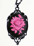Pink Rose on Black Cameo Necklace