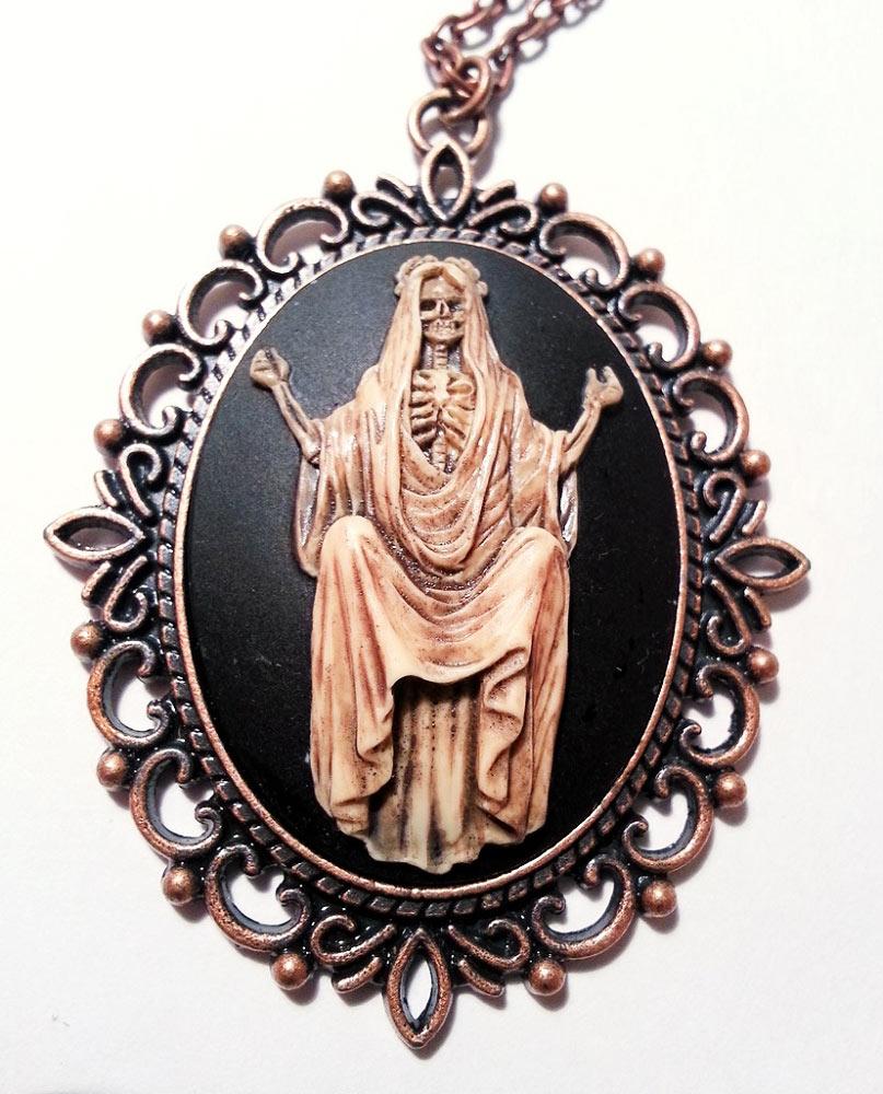 Santa muerte cameo necklace home accessories santa muerte copper cameo necklace mozeypictures Images