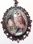 Owl Copper Cameo Necklace