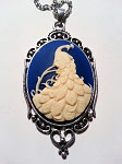Peacock in Blue Cameo Necklace