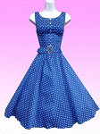Blue White Small Dot 50's Dress