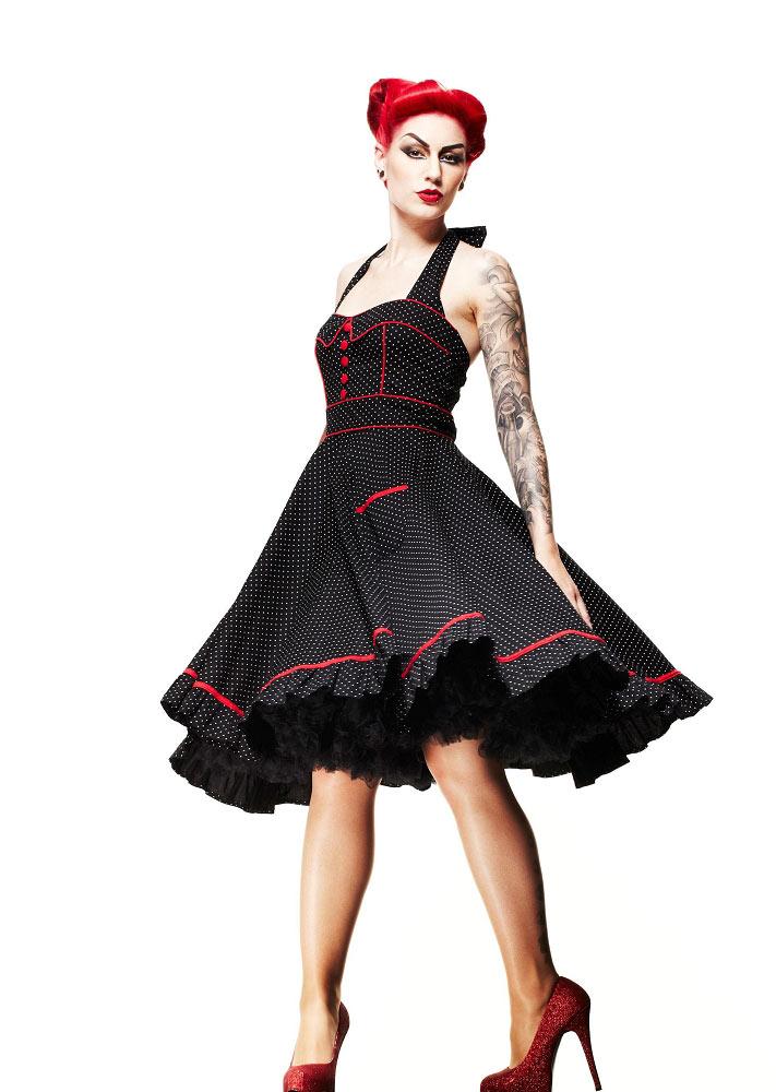 863207eab2bb5 Hell Bunny Vanity Polka Dot Swing Dress