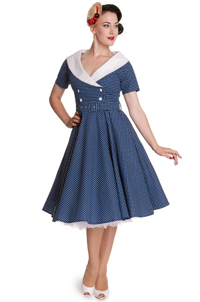 hell bunny claudia 50 39 s pinup dress in blue. Black Bedroom Furniture Sets. Home Design Ideas