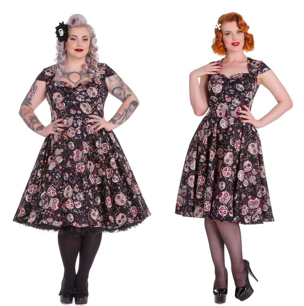 9bfcdf1fcbc Home   Plus Sizes   Hell Bunny Sasha Black Sugar Skull Dress