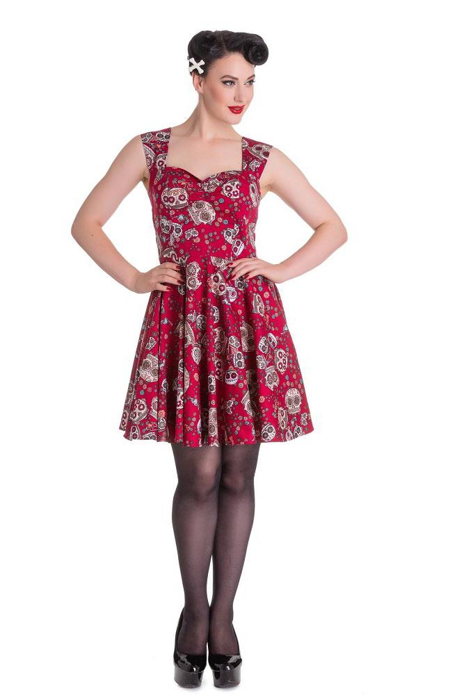 817dbd343f0 Hell Bunny Idaho Red Sugar Skull Mini Dress