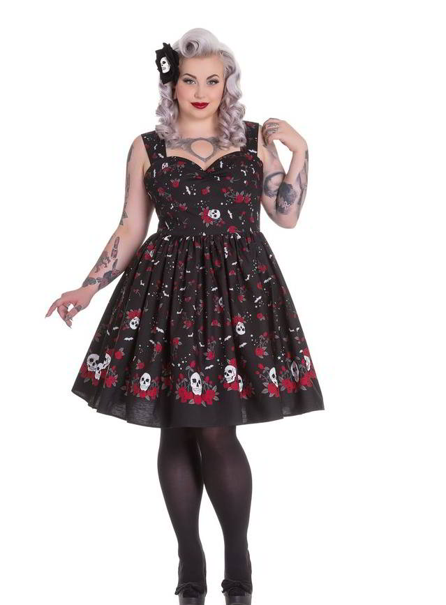 Hell Bunny Aconite Skull and Bat Dress