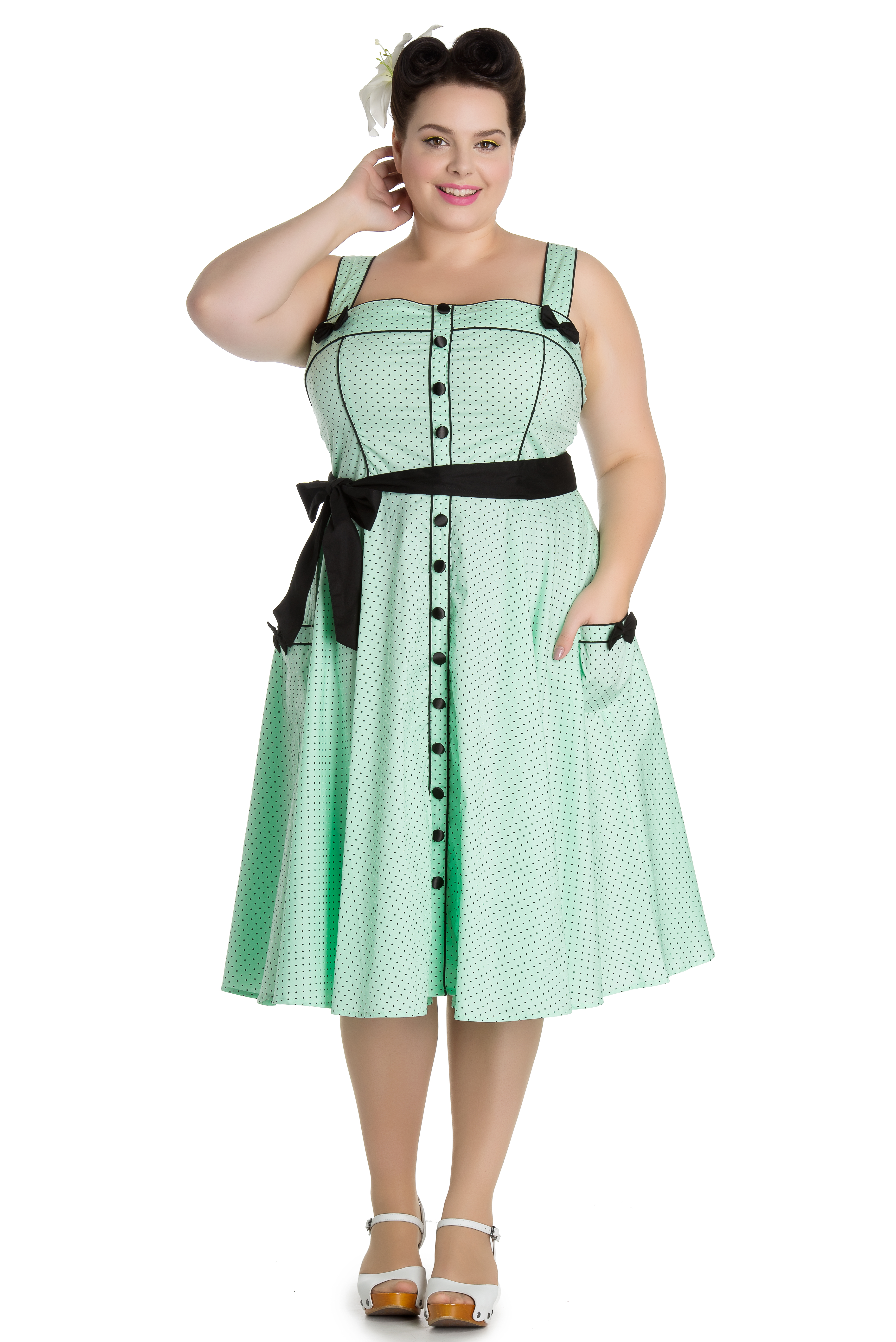 702ba3d98ad Hell Bunny Pinup Mint Martie 50 s Swing Dress