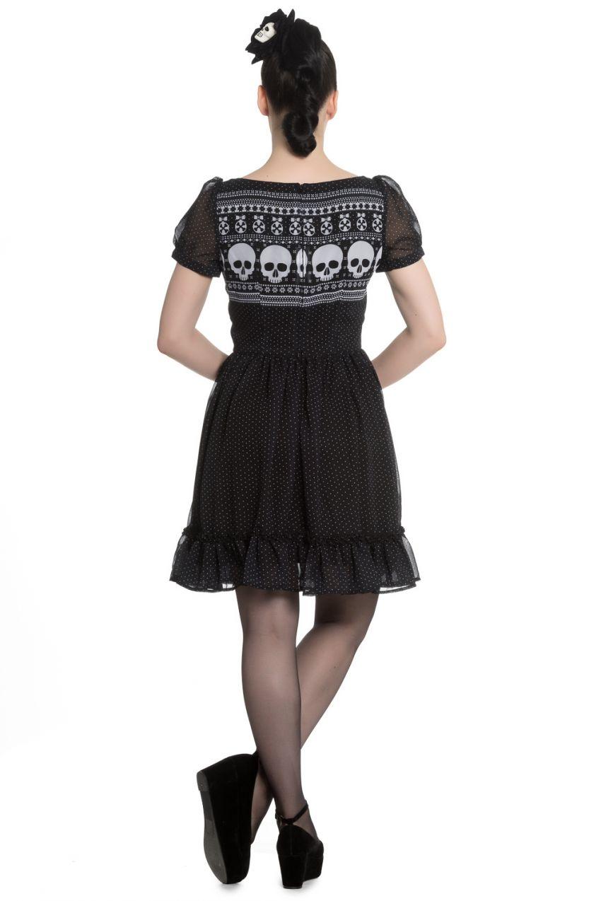 ffe8d00e6f4 Hell Bunny Alternative Yule Skull Black and White Mini Dress