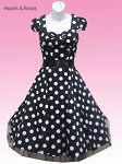 Black White Big Dot 50s Swing Dress