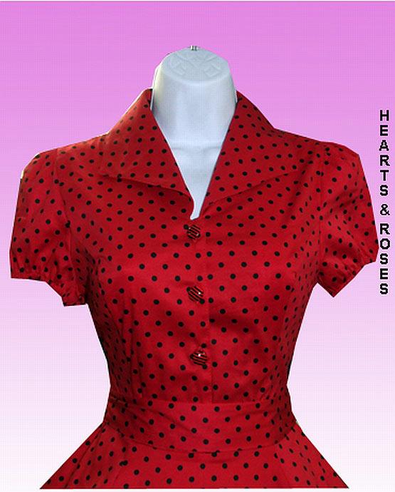 b361baf1707b0 H&R London Red Polka Dot Vintage Style Swing Dress
