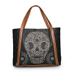 Loungefly Brown Trim Skull Embroidery Tote