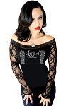 Fallen Angel Lace Sleeve Black Top