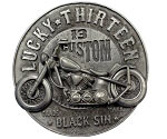 Lucky 13 Black Sin Belt Buckle with Spinning Wheels