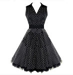 Black and White Polka Dot Vneck 50's Dress