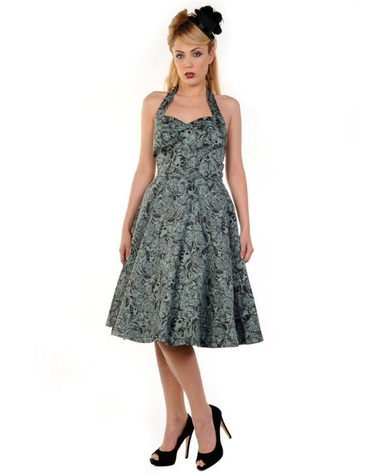 Skulls On Green 50s Halter Dress