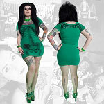 Black Skeleton Tunic Dress - Green