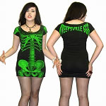 Green Skeleton Tunic Dress on Black