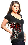 Lucky 13 Flores Muertas Womens Deep V neck Tee