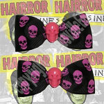 Kreepsville Pink & Black Skull Hair Bow