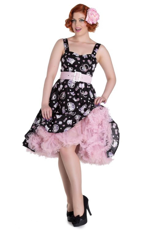 35e23a30e37d2 Hell Bunny Black Amelia Cat Print 50's Dress