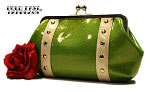 Hold Fast Handbags Rockabilly Glitter Vinyl Clutch (Green & White)