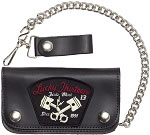 Lucky 13 Broken Piston Leather Wallet and Chain