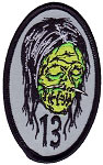 Lucky 13 Shrunken Head Embroidered Patch