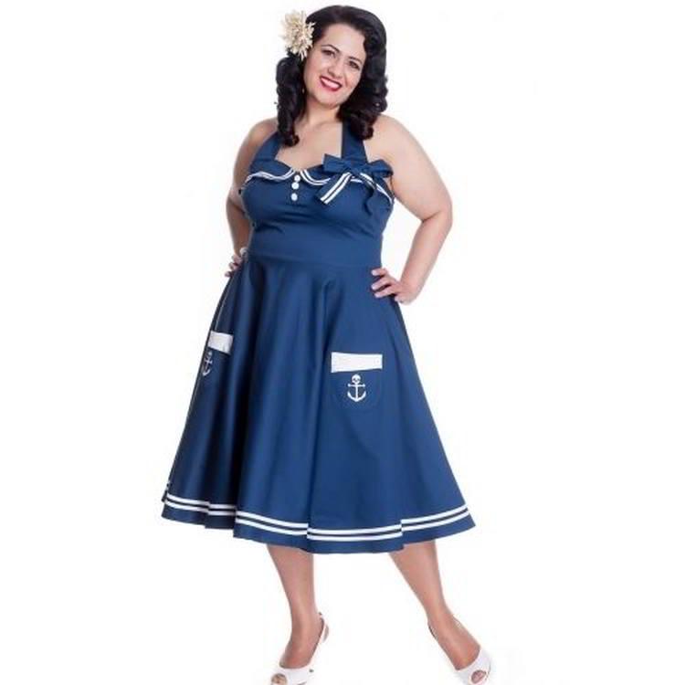 Hell Bunny Motley 50s Nautircal Swing Dress In Navy
