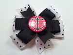 White and Black Dot Pink Anchor Hair Bow