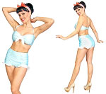 Baby Blue Retro Two Piece Bathing Suit