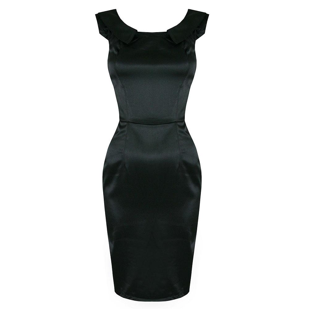 H Amp R London Black Satin Pencil Wiggle Dress