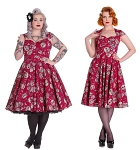 Hell Bunny Sasha Red Sugar Skull Dress