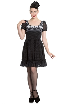 Hell Bunny Black and White Yule Skull Mini Dress