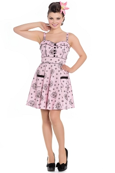 Hell Bunny Mini Keepsake Sugar Skull Pink Dress