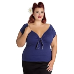 Hell Bunny Bardot Top Navy