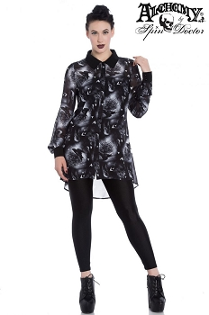 Hell Bunny Spin Doctor Gothic Skull and Crows Ash Blouse