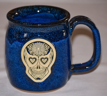 Handmade Pottery Sugar Skull Galaxy Blue Java Lover Coffee Mug