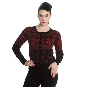 Hell Bunny Black and Red Clara Skull Cardigan