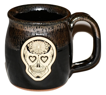 Handmade Pottery Sugar Skull Silvery Night Java Lover Coffee Mug