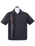 Steady Hot Rod Pinstripe Mens Charcoal Button Up