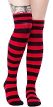 Black and Red Stripe Foldover Socks
