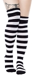 Black and White Stripe Foldover Socks